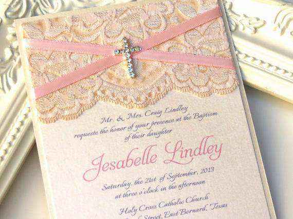 Pink and Gold Baptism Invitations